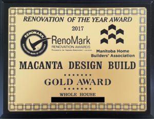 Renovation of the Year Award, 2017 Gold Award Whole House Renovation Manitoba Home Builders' Association of Manitoba