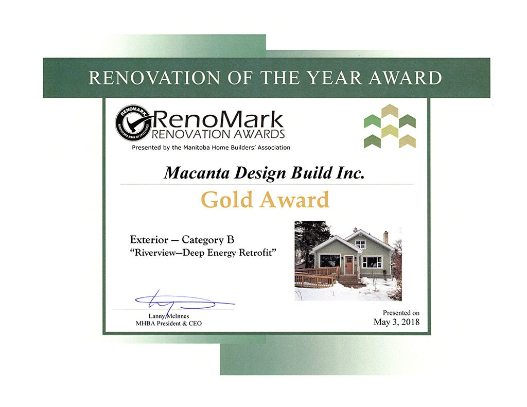 Gold Award Exterior Renovation Energy Efficient