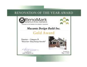 Gold Award Exterior Renovation Energy Efficient