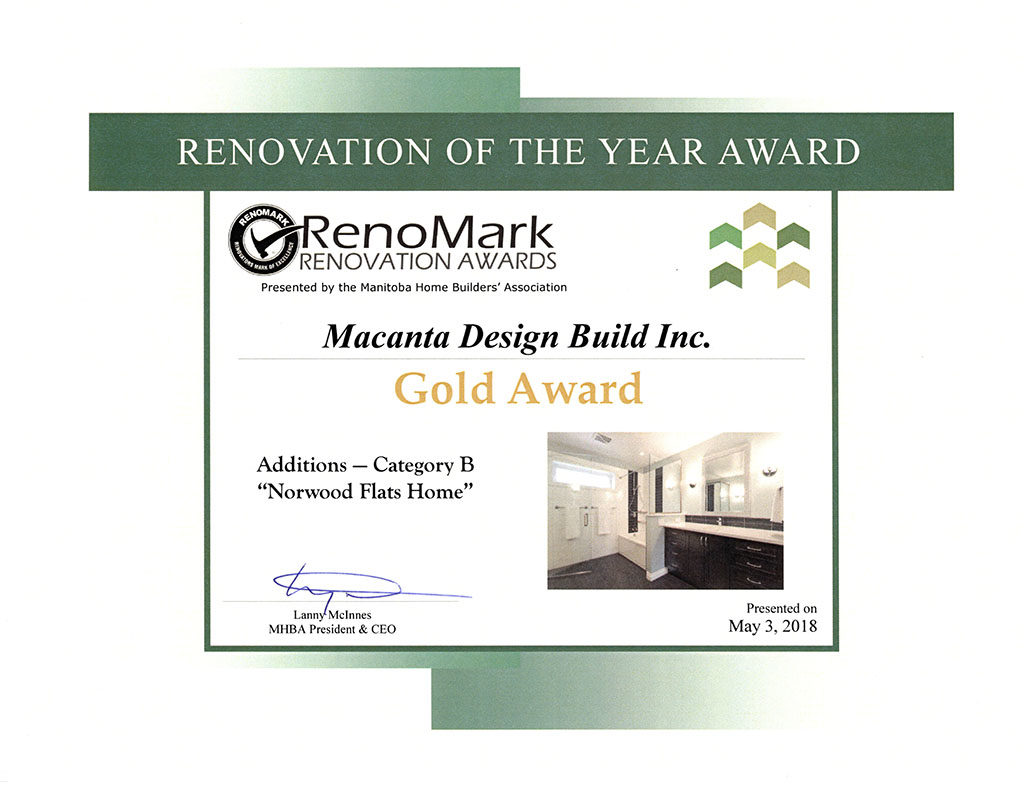Home Addition Award Gold Norwood Flats Winnipeg